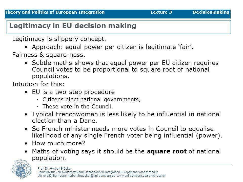 Legitimacy in EU decision making
