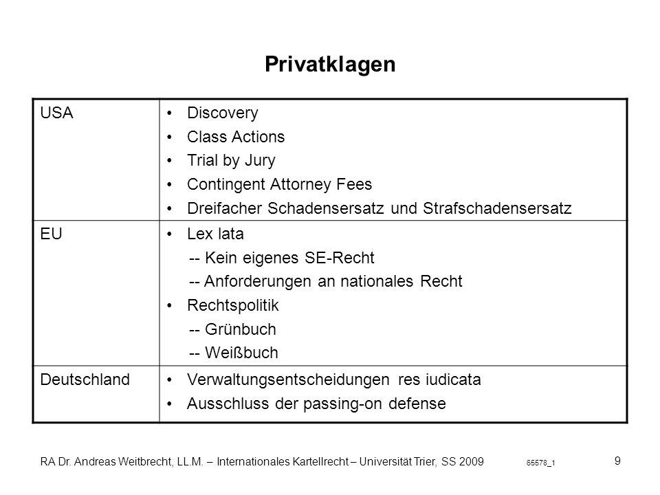 Privatklagen USA Discovery Class Actions Trial by Jury