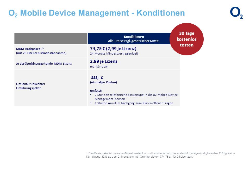 O2 Mobile Device Management - Konditionen