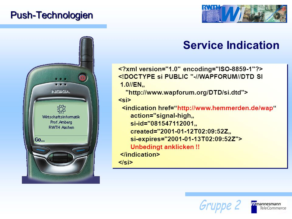 Service Indication Push-Technologien