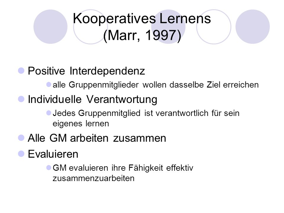Kooperatives Lernens (Marr, 1997)