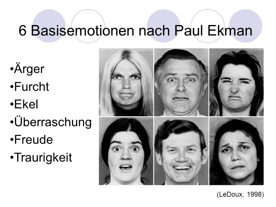 6 Basisemotionen nach Paul Ekman