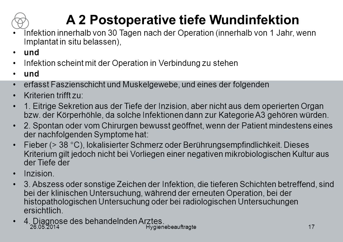 A 2 Postoperative tiefe Wundinfektion