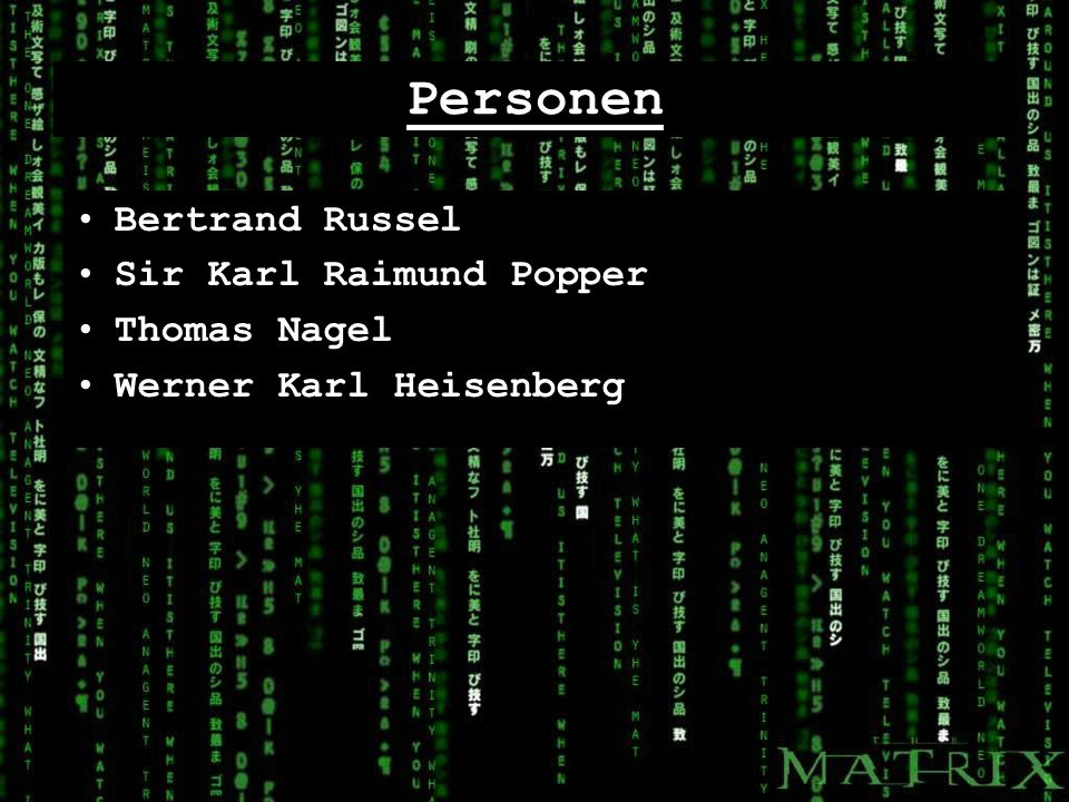 Personen Bertrand Russel Sir Karl Raimund Popper Thomas Nagel