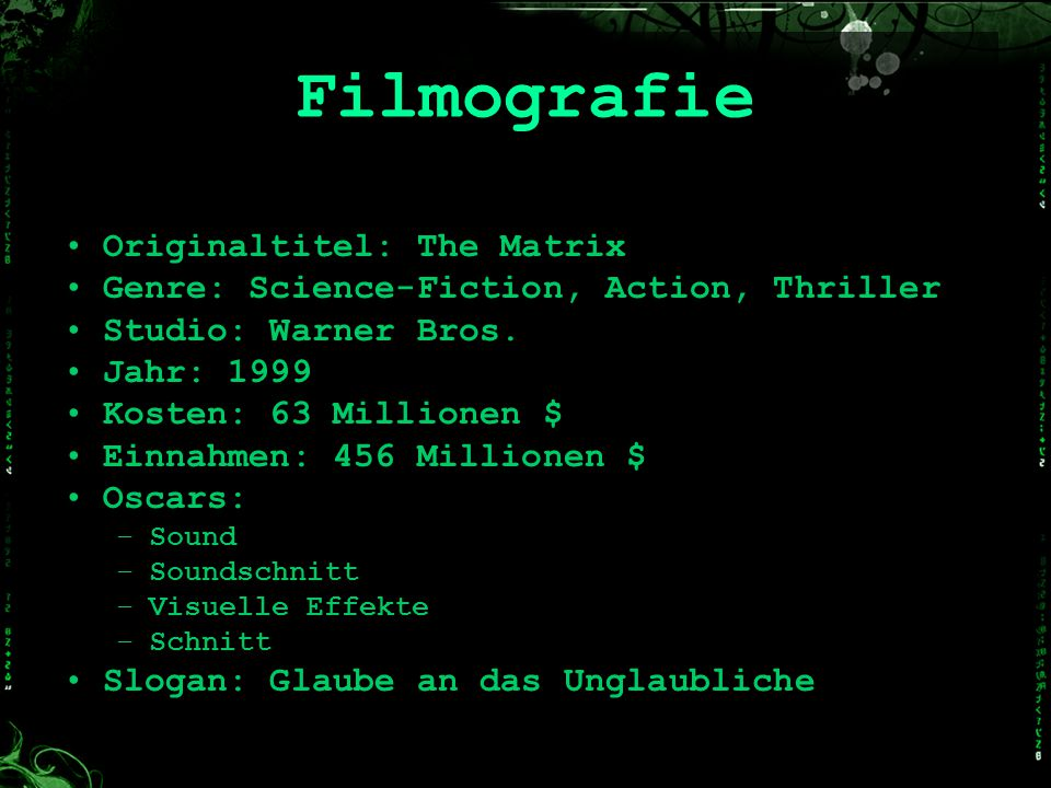 Filmografie Originaltitel: The Matrix