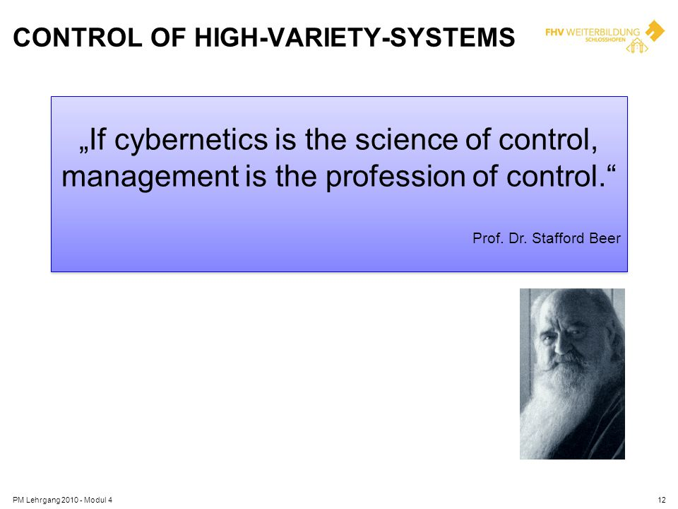 Control of High-Variety-Systems