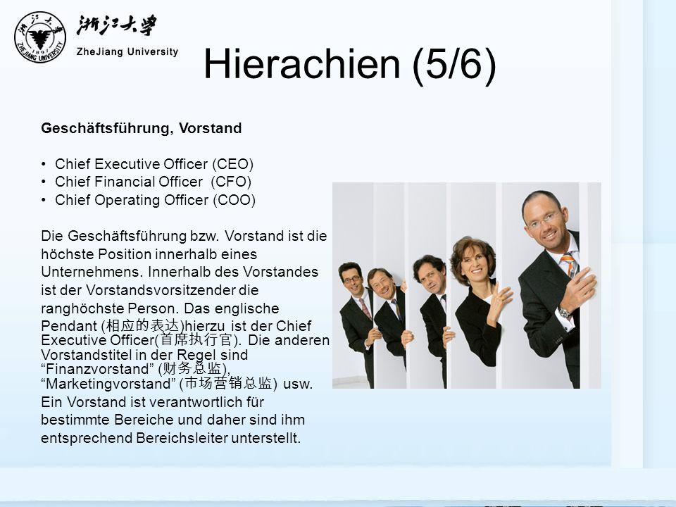 Hierarchien Innerhalb Eines Unternehmens 一个企业里的职位