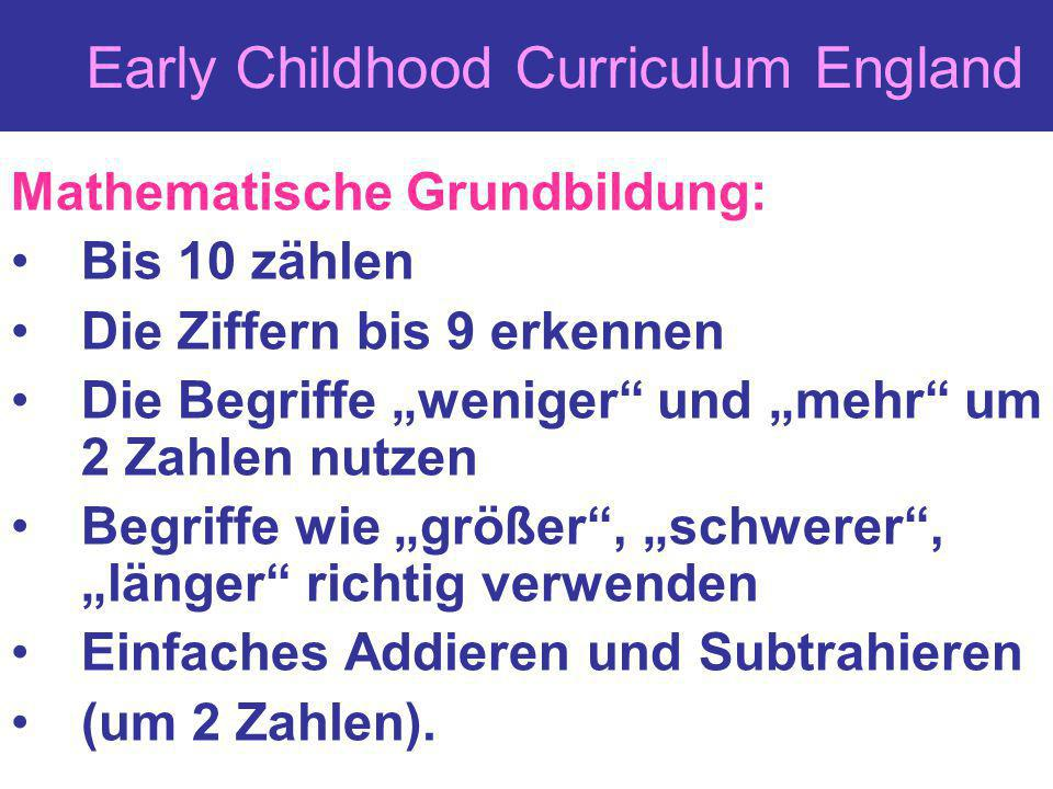 Early Childhood Curriculum England
