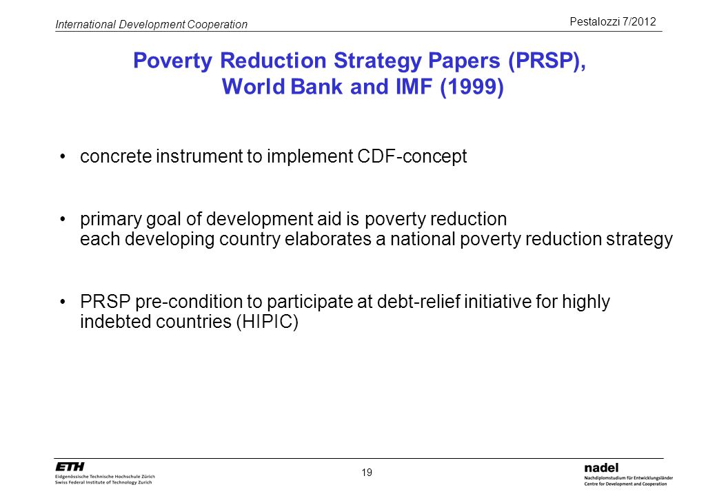 Poverty Reduction Strategy Papers (PRSP), World Bank and IMF (1999)