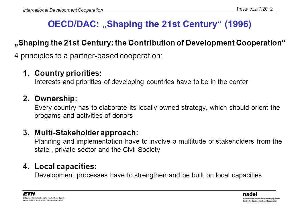 "OECD/DAC: ""Shaping the 21st Century (1996)"