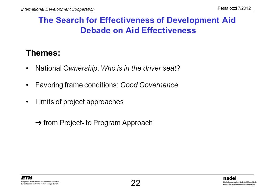 The Search for Effectiveness of Development Aid Debade on Aid Effectiveness