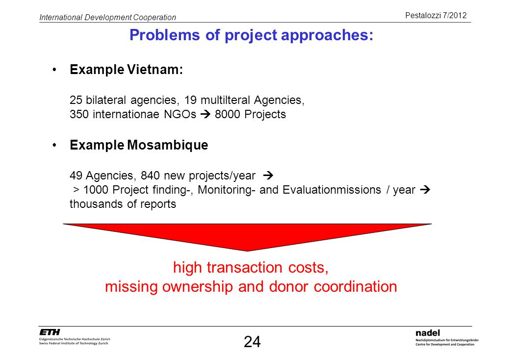 Problems of project approaches: