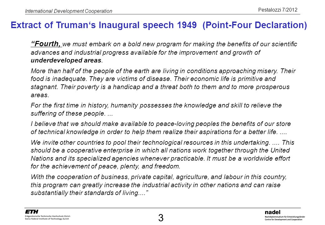 Extract of Truman's Inaugural speech 1949 (Point-Four Declaration)
