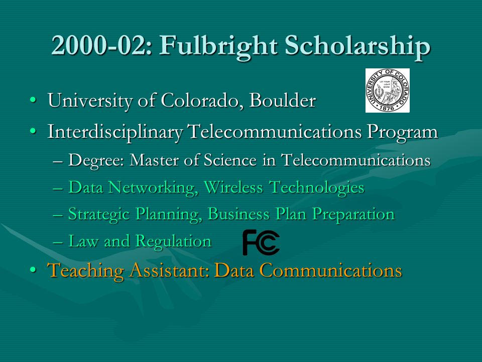 2000-02: Fulbright Scholarship