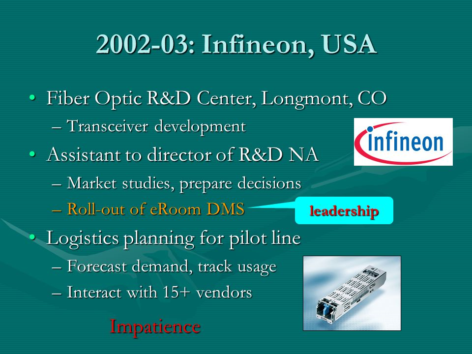 2002-03: Infineon, USA Fiber Optic R&D Center, Longmont, CO