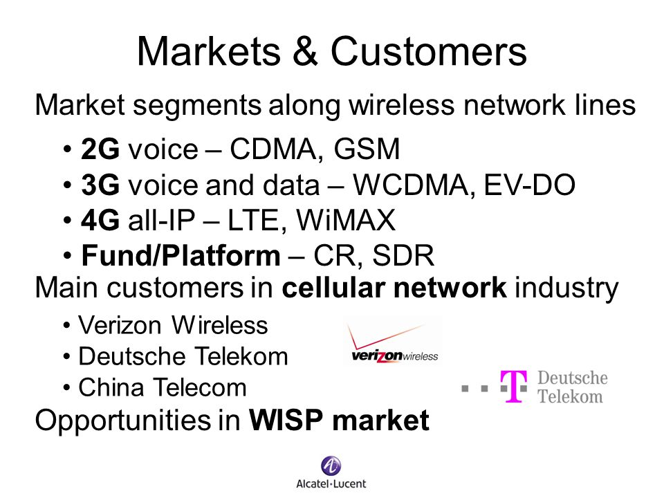 Markets & Customers Market segments along wireless network lines