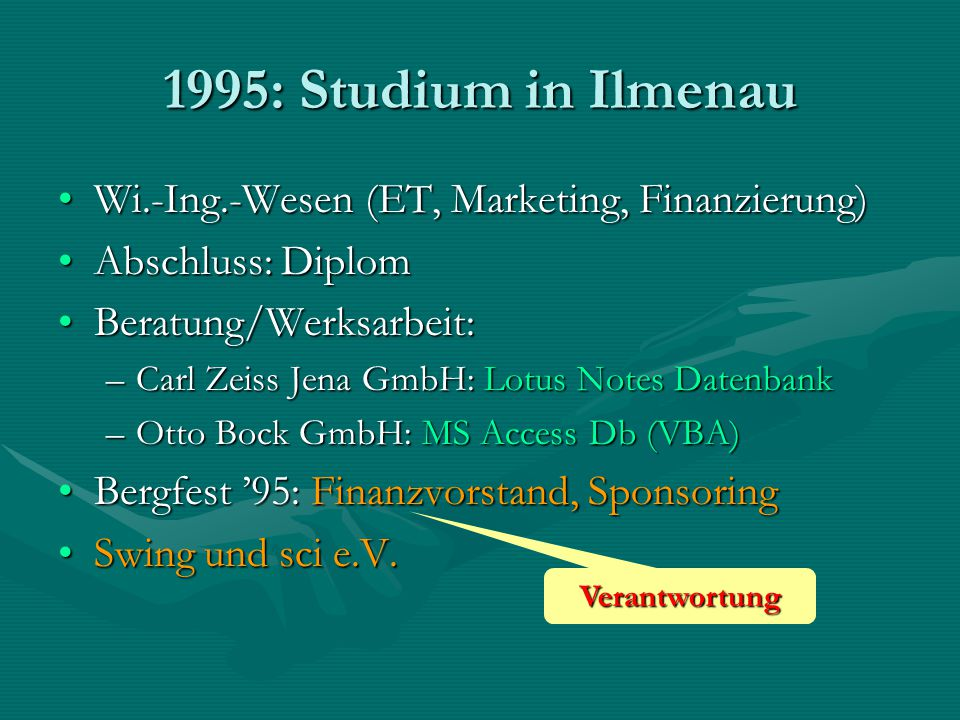 1995: Studium in Ilmenau Wi.-Ing.-Wesen (ET, Marketing, Finanzierung)