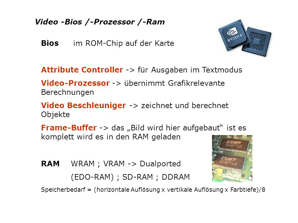 Video -Bios /-Prozessor /-Ram