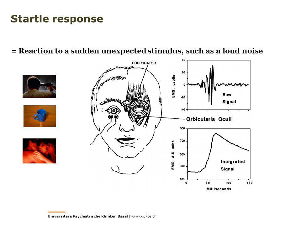 Startle response = Reaction to a sudden unexpected stimulus, such as a loud noise.