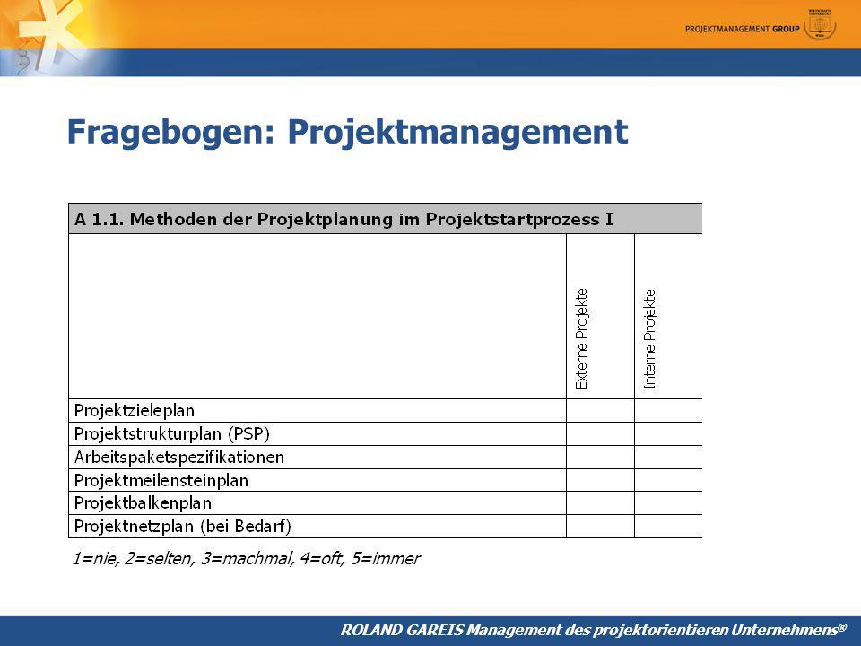 Fragebogen: Projektmanagement