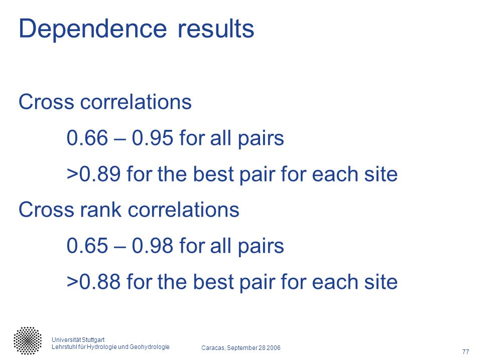 Dependence results Cross correlations 0.66 – 0.95 for all pairs