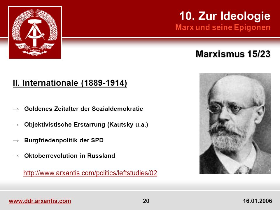 10. Zur Ideologie Marxismus 15/23 II. Internationale (1889-1914)