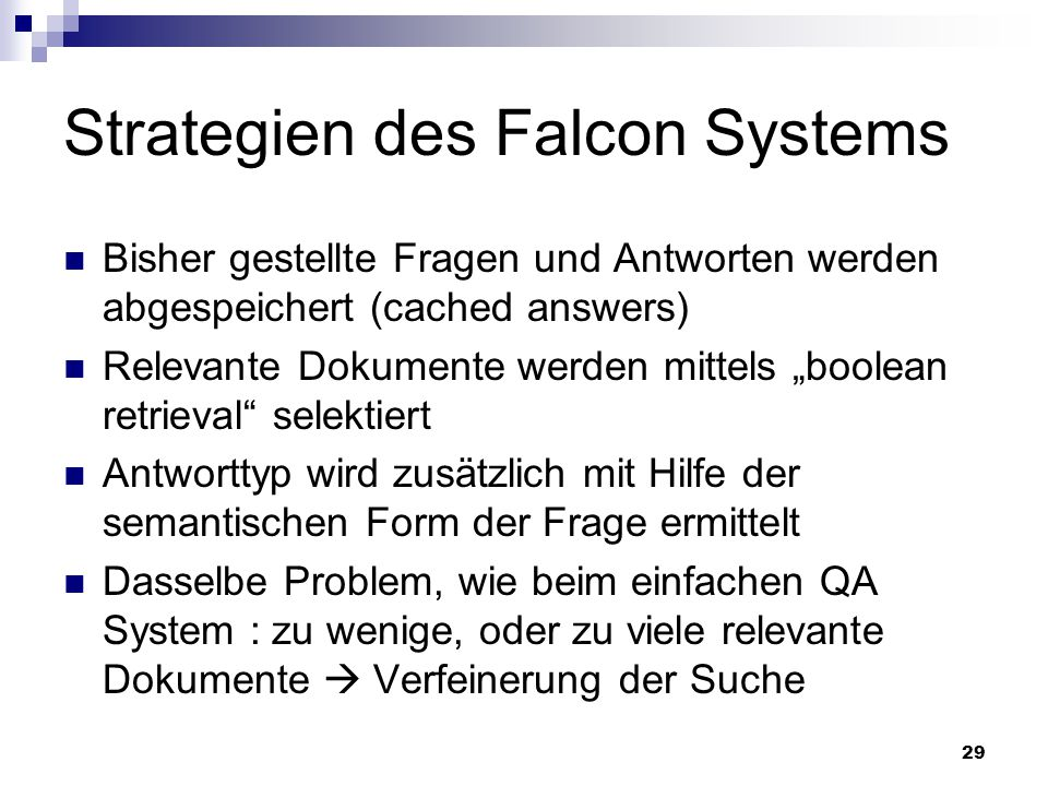 Strategien des Falcon Systems