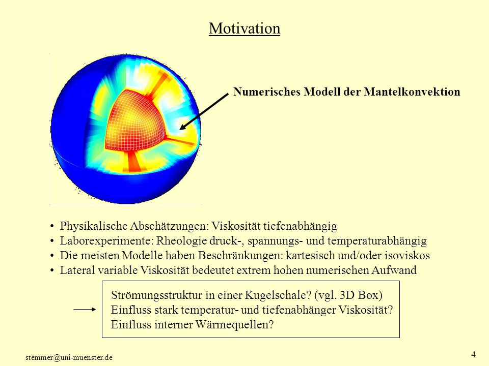 Motivation Numerisches Modell der Mantelkonvektion