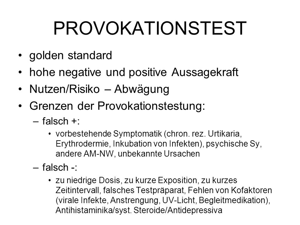 PROVOKATIONSTEST golden standard