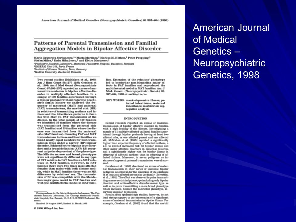 American Journal of Medical Genetics – Neuropsychiatric Genetics, 1998
