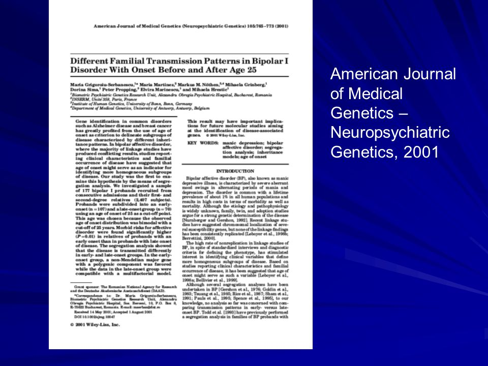 American Journal of Medical Genetics – Neuropsychiatric Genetics, 2001