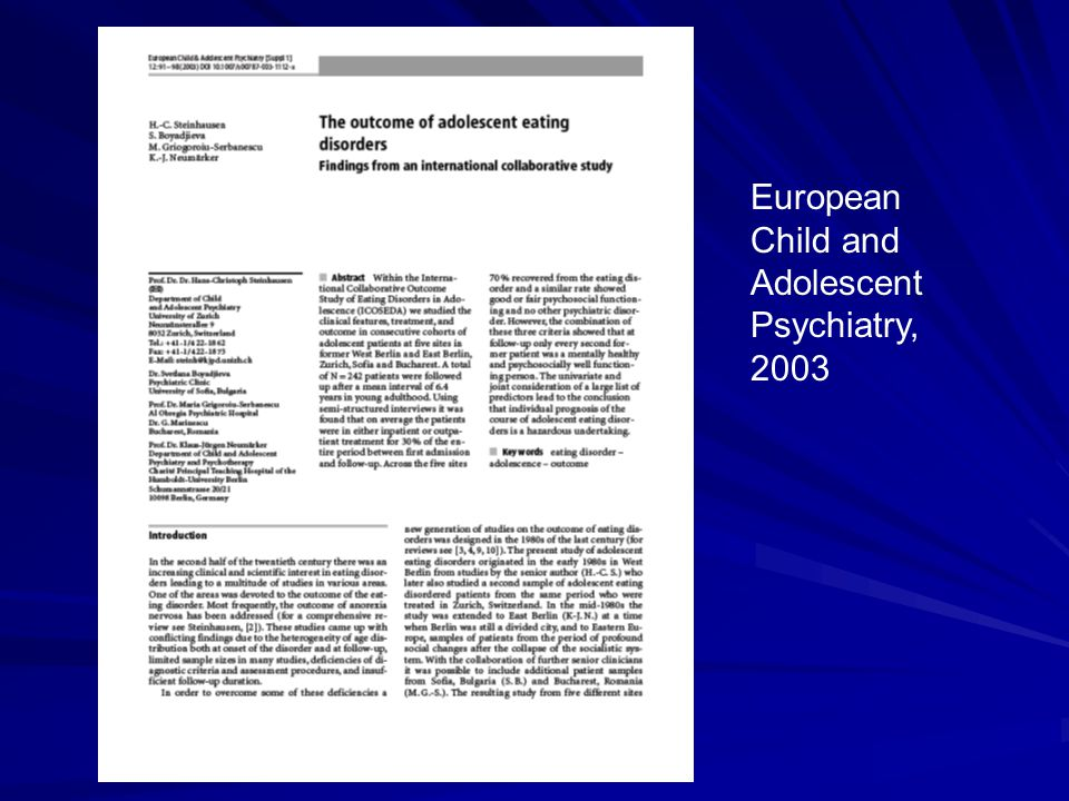 European Child and Adolescent Psychiatry, 2003