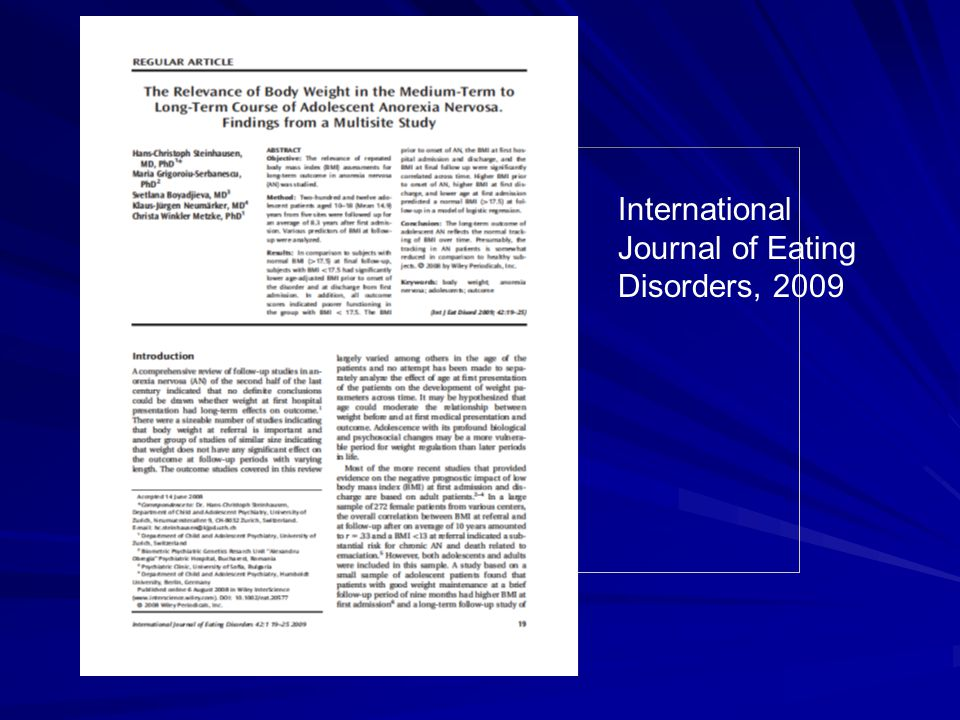 International Journal of Eating Disorders, 2009