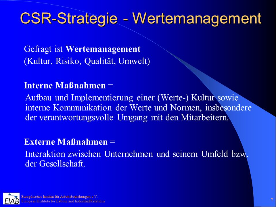 CSR-Strategie - Wertemanagement