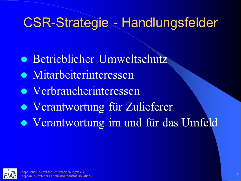 CSR-Strategie - Handlungsfelder