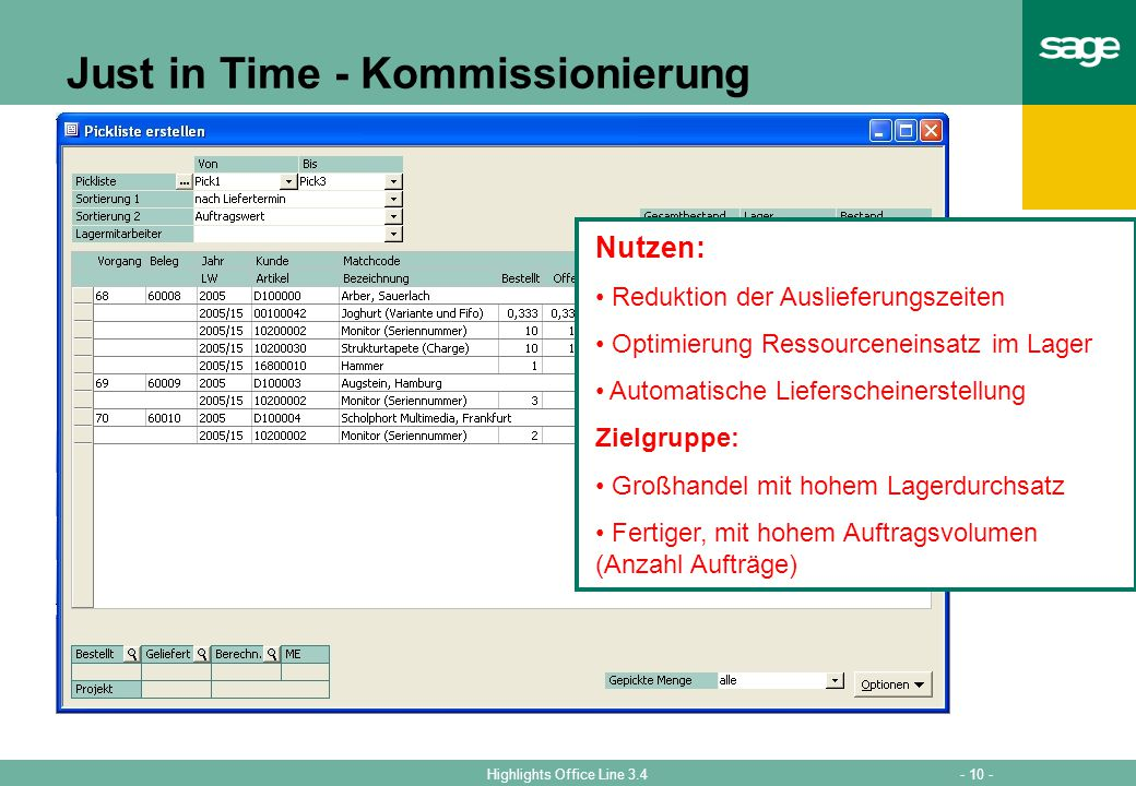 Just in Time - Kommissionierung