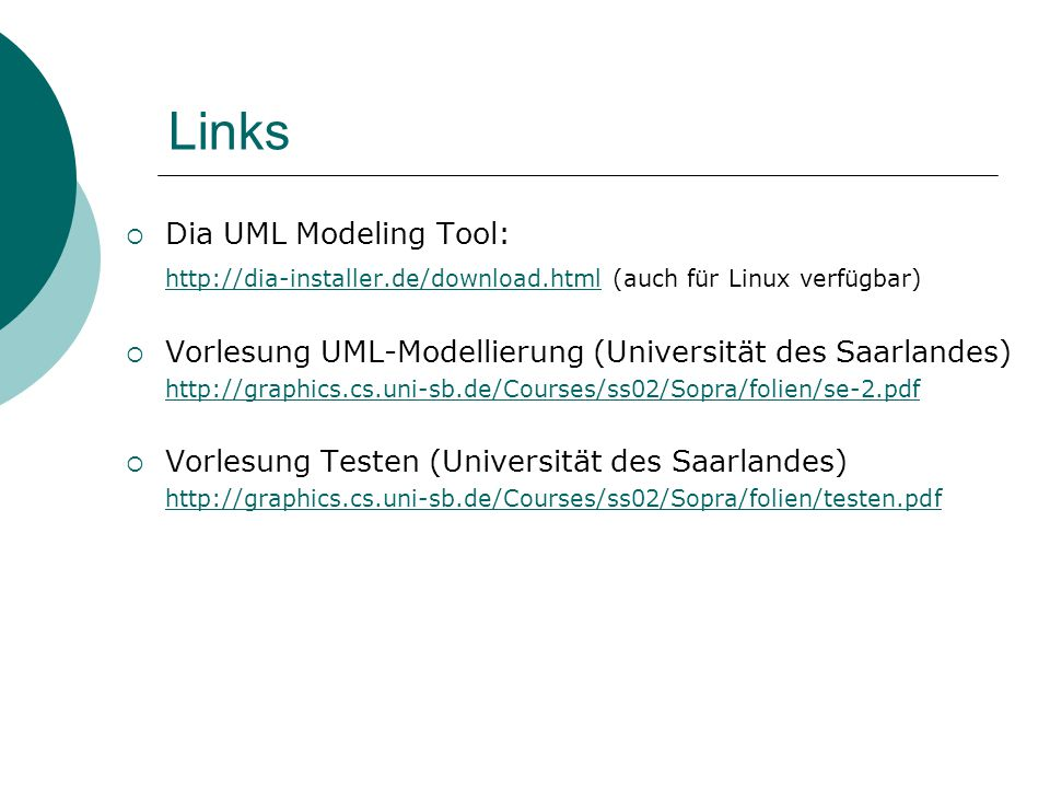 Links Dia UML Modeling Tool:
