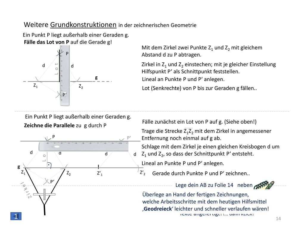 Geodreieck Beschriftung