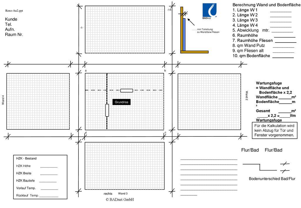 Sehr Flur/Bad Flur/Bad Berechnung Wand und Bodenfläche - ppt herunterladen XW69