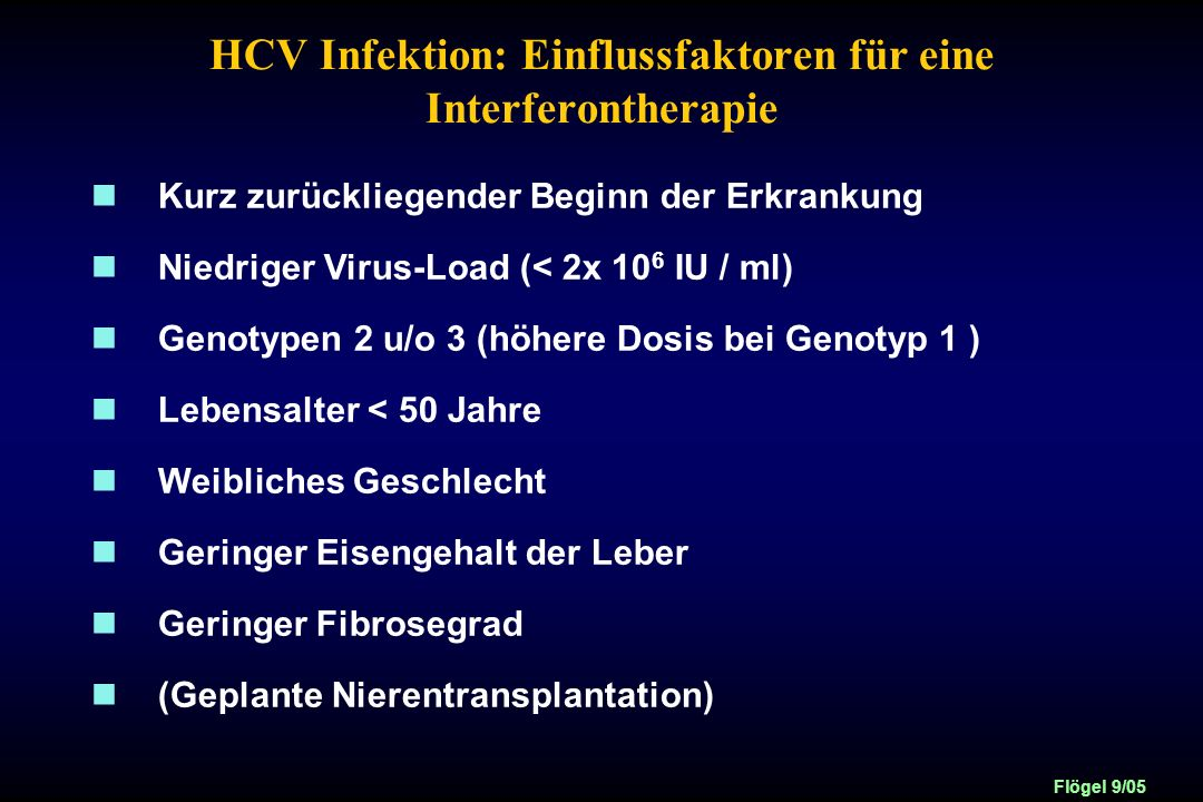 HCV Infektion: Einflussfaktoren für eine Interferontherapie