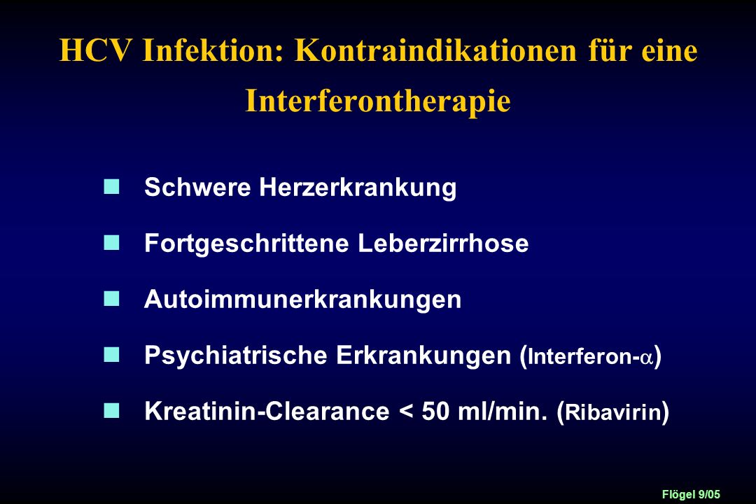 HCV Infektion: Kontraindikationen für eine Interferontherapie