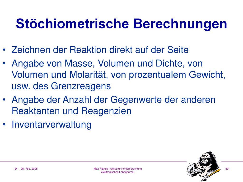 Max-Planck-Institut für Kohlenforschung elektronisches Laborjournal ...
