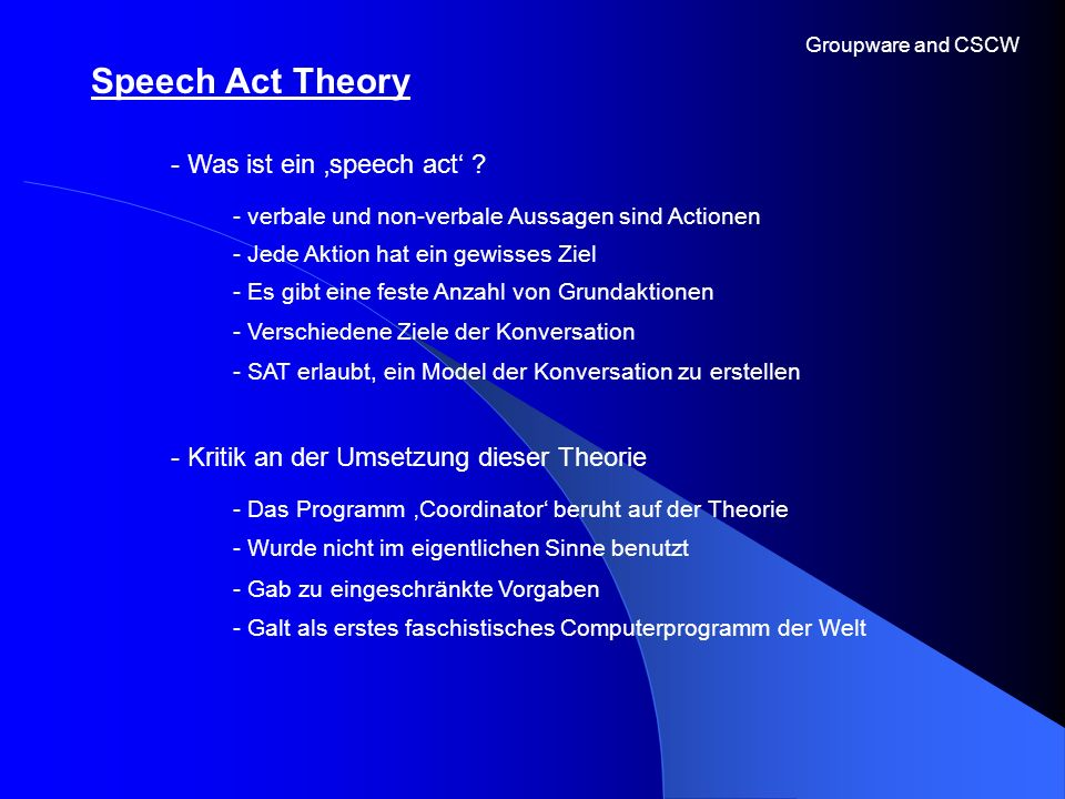 Speech Act Theory - Was ist ein 'speech act'