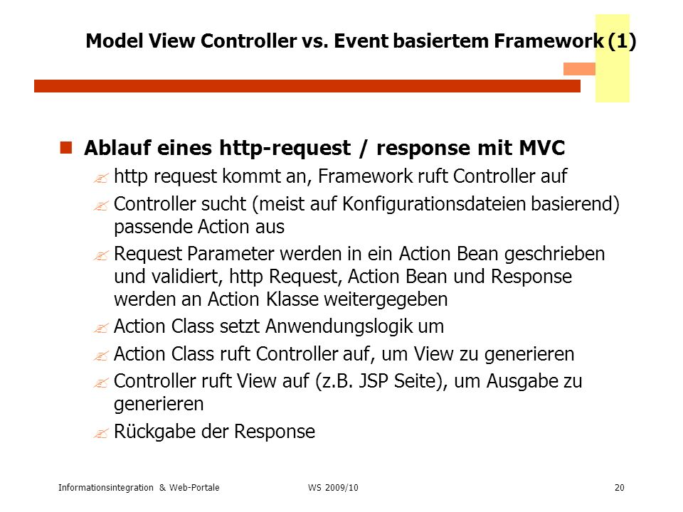 Model View Controller vs. Event basiertem Framework (1)