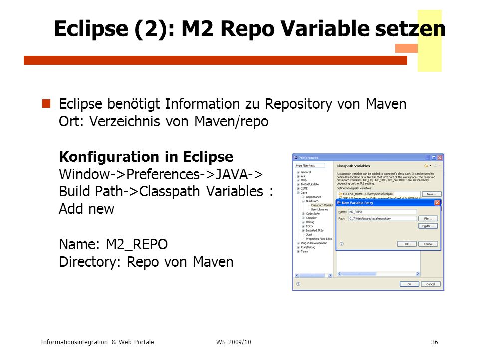Eclipse (2): M2 Repo Variable setzen