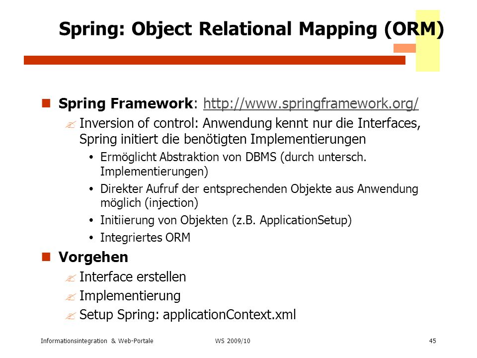 Spring: Object Relational Mapping (ORM)