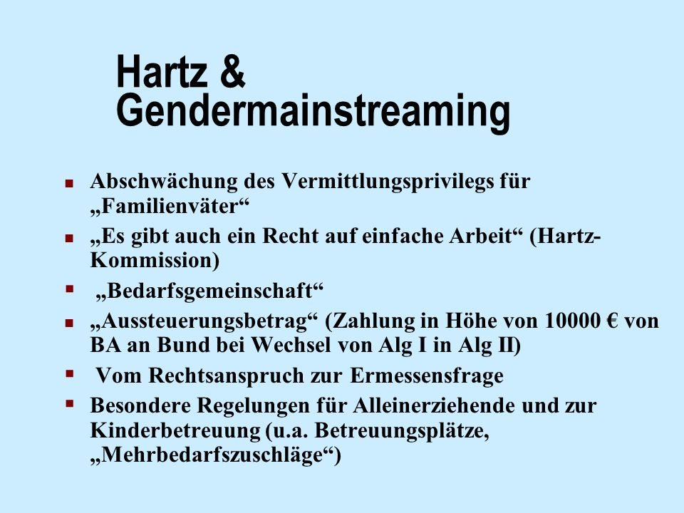 Hartz & Gendermainstreaming