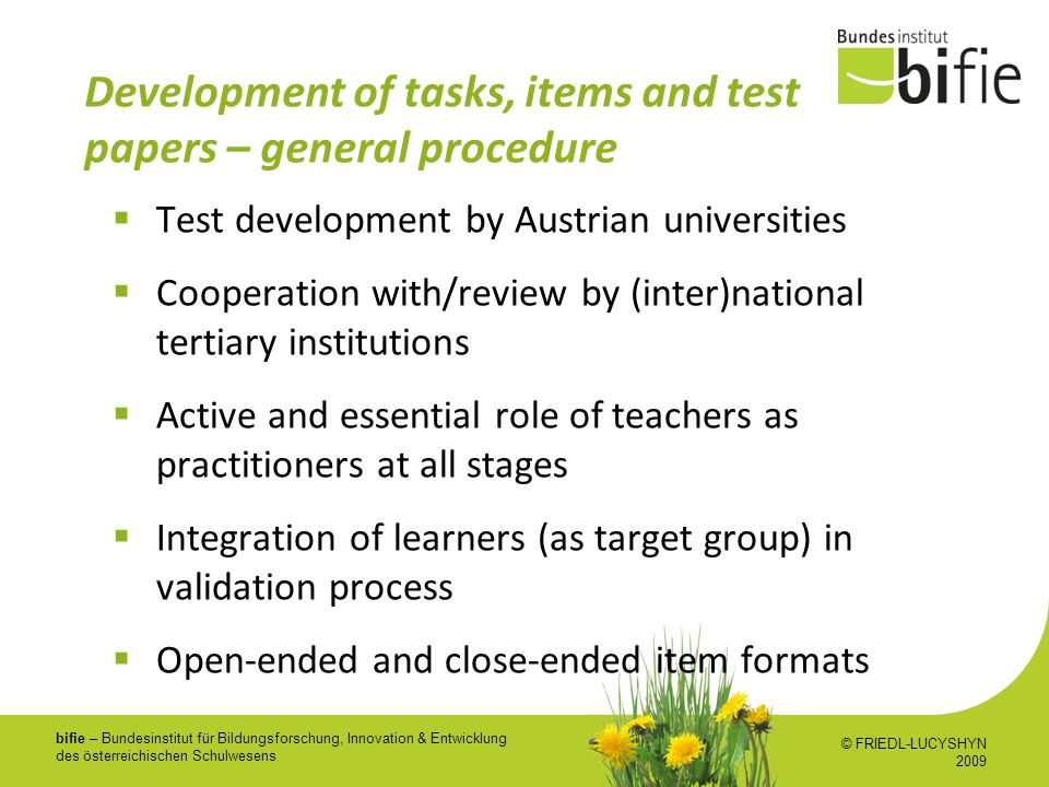 Development of tasks, items and test papers – general procedure