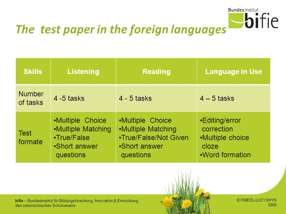 The test paper in the foreign languages