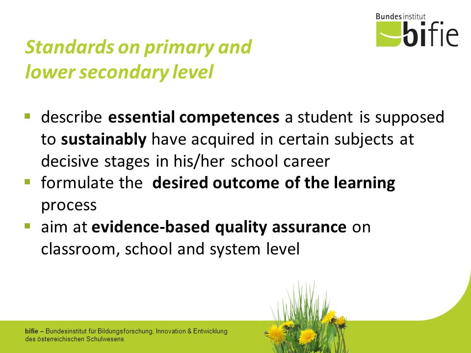Standards on primary and lower secondary level